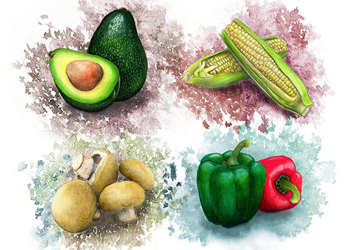 Watercolor Poster of Assortment of Vegtables_2