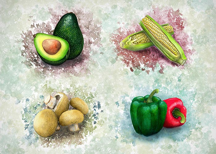 Watercolor Poster of Assortment of Vegtables
