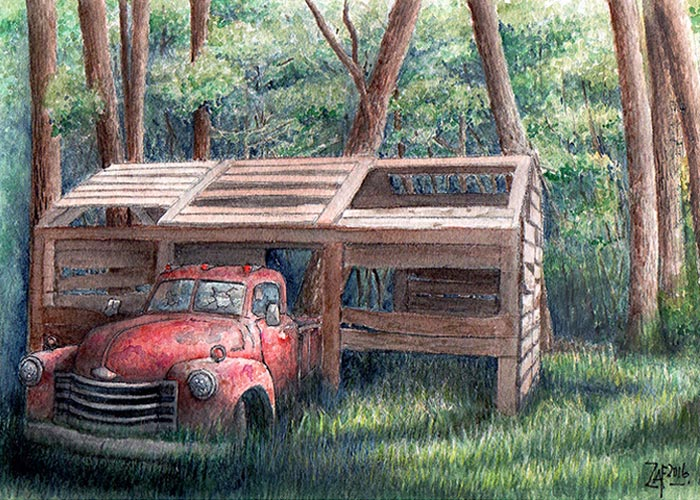 Decaying Truck in the Woods
