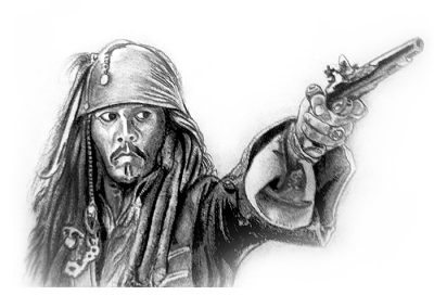 Jack Sparrow Charcoal Painting