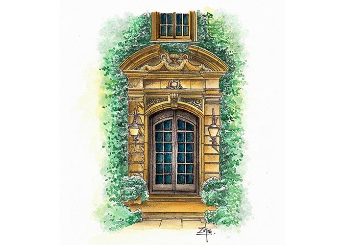 French Door in Watercolor