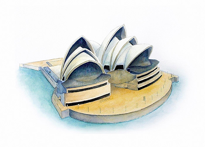Sydney Opera house Watercolor Painting