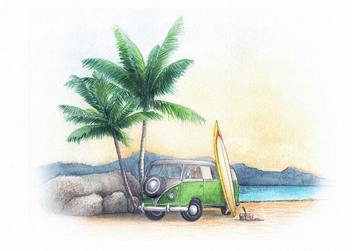 VW Van at the Beach Watercolor Painting