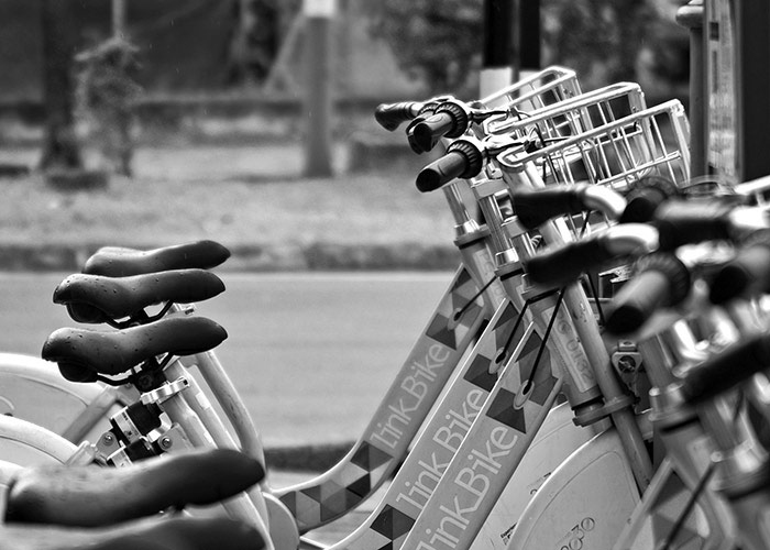 Black &; White Photography : a row of link bikes