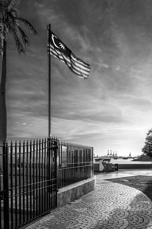 Black & White Photography of A Malaysian Flag