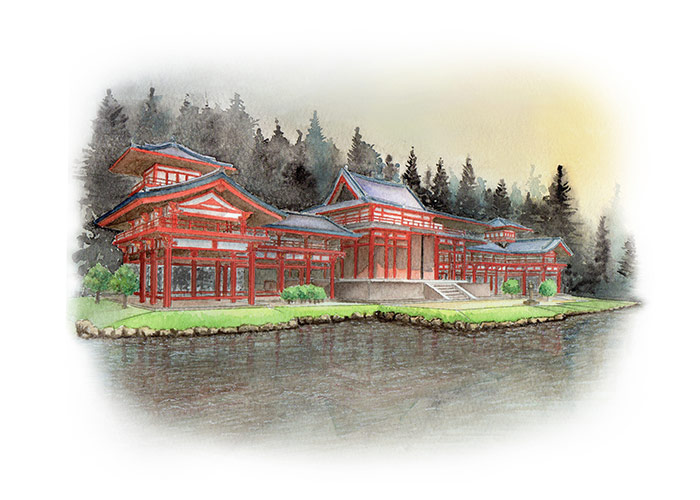 Watercolor Painting of Byodo in Kyoto