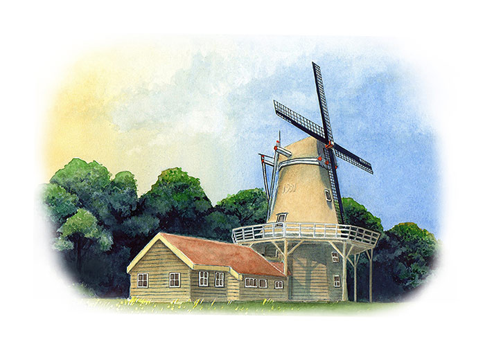 Watercolor Painting of a Dutch Windmill
