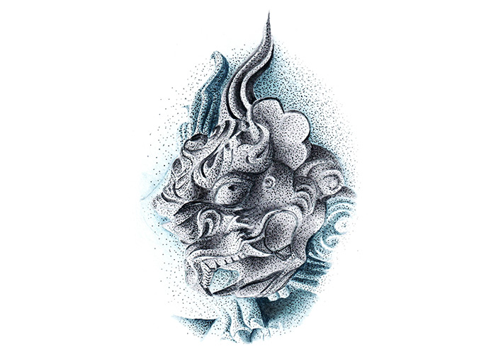 Dragon Temple Carving Watercolor Painting
