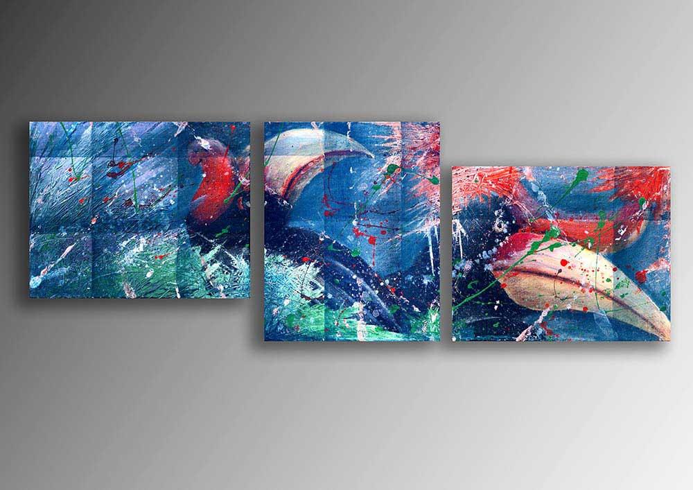 Semi Abstract Acrylic Painting of Hornbills