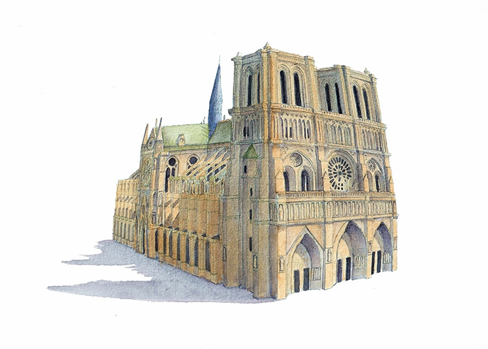 Watercolor Painting of Notre Dame