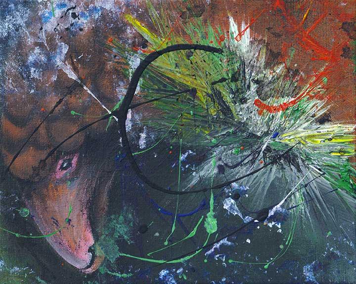 Semi Abstract Acrylic Painting of Pangolin