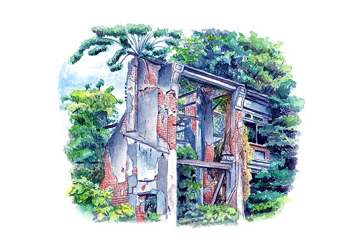 Watercolor Painting of a Dilapidated Buildings