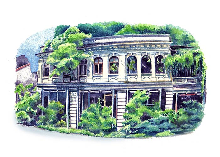 Watercolor Painting of a Dilapidated Building