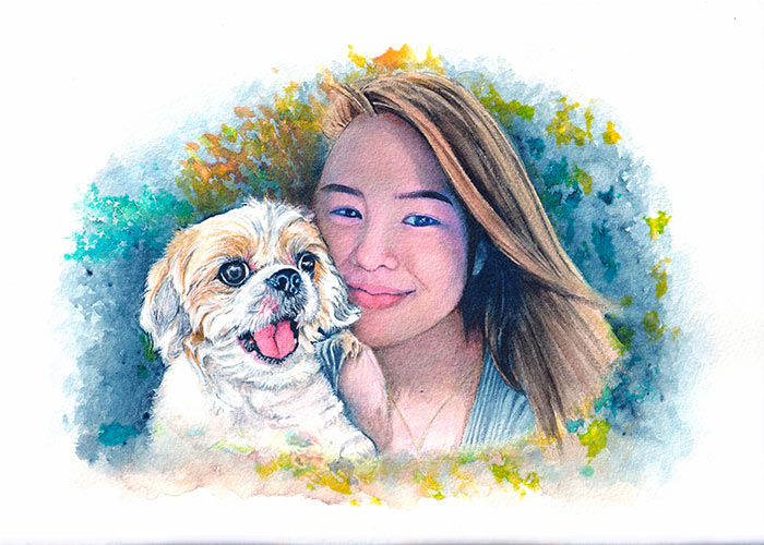 Watercolor Painting of a dog and a woman