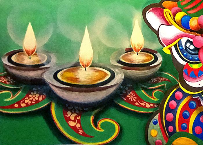 Diwali Lamps Mural Painting